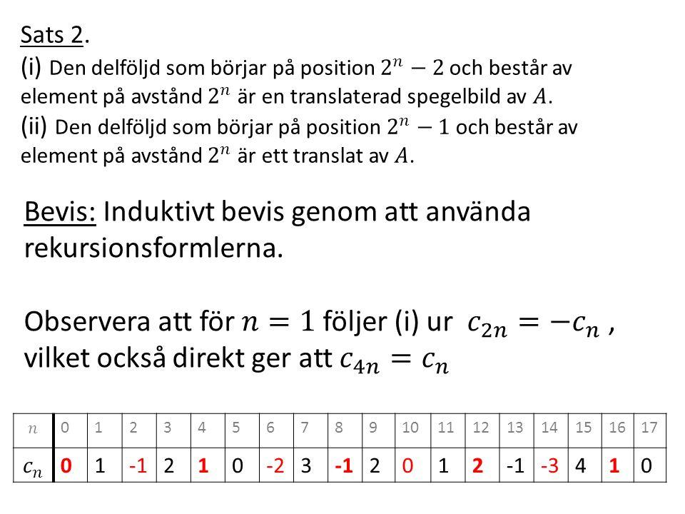 Sats 2. (i) Den delföljd som börjar på position 2 𝑛 −2 och består av element på avstånd 2 𝑛 är en translaterad spegelbild av 𝐴.