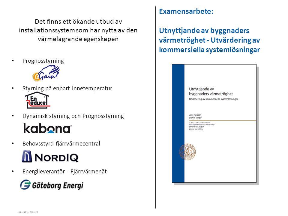 Examensarbete: Utnyttjande av byggnaders värmetröghet - Utvärdering av kommersiella systemlösningar