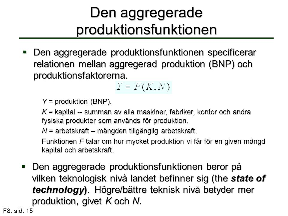 Den aggregerade produktionsfunktionen