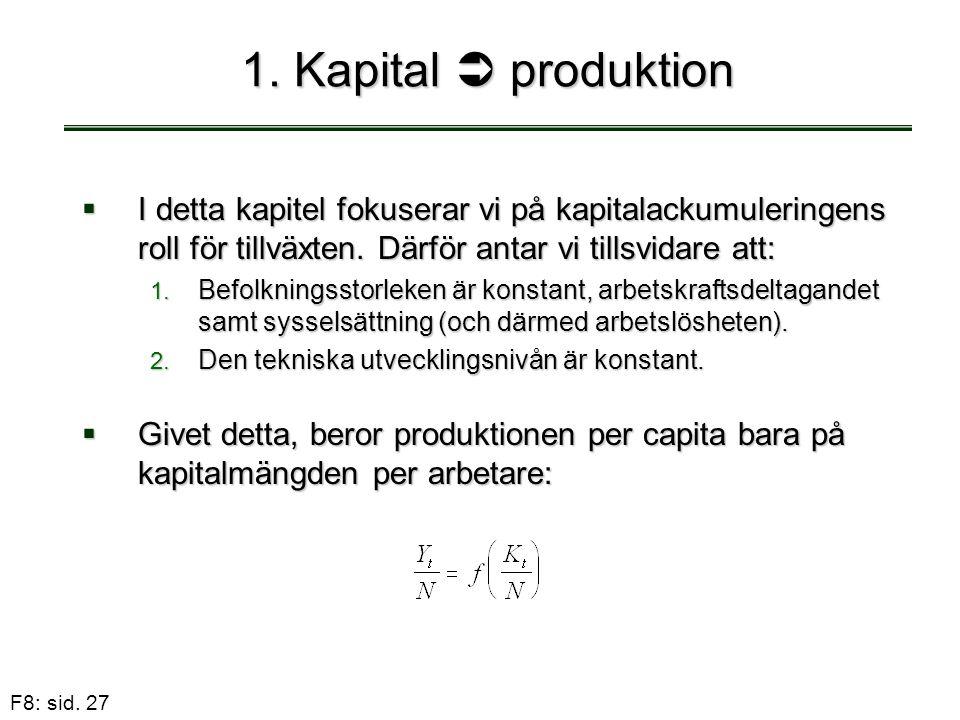1. Kapital  produktion I detta kapitel fokuserar vi på kapitalackumuleringens roll för tillväxten. Därför antar vi tillsvidare att:
