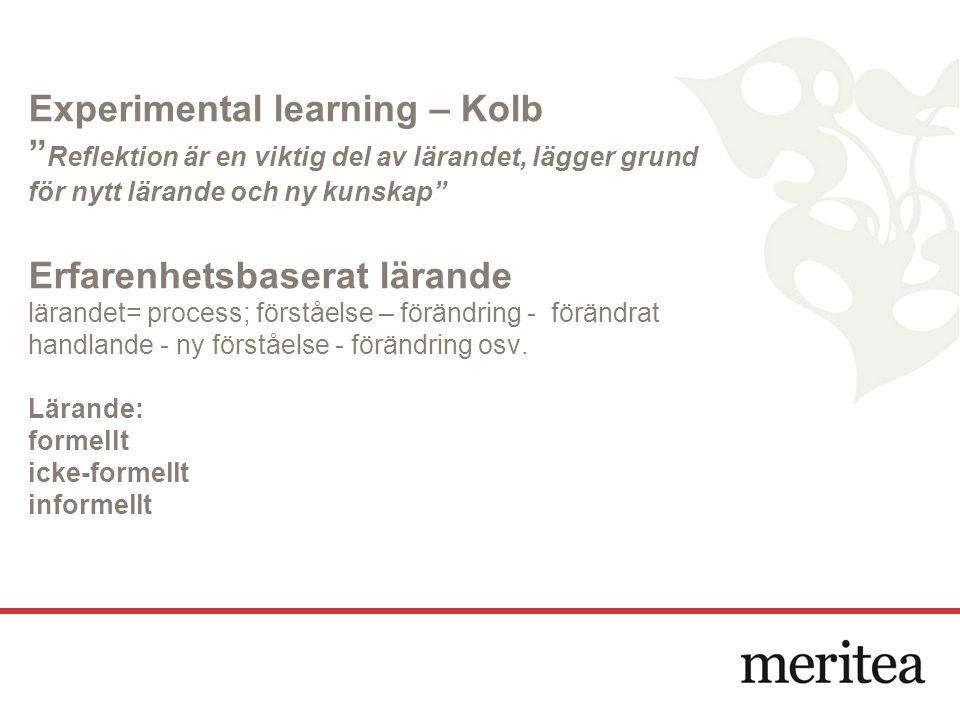 Experimental learning – Kolb Reflektion är en viktig del av lärandet, lägger grund för nytt lärande och ny kunskap Erfarenhetsbaserat lärande lärandet= process; förståelse – förändring - förändrat handlande - ny förståelse - förändring osv.