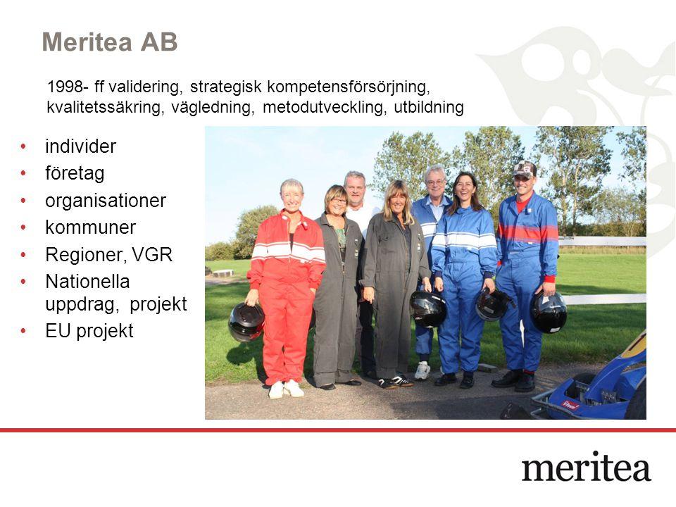Meritea AB individer företag organisationer kommuner Regioner, VGR