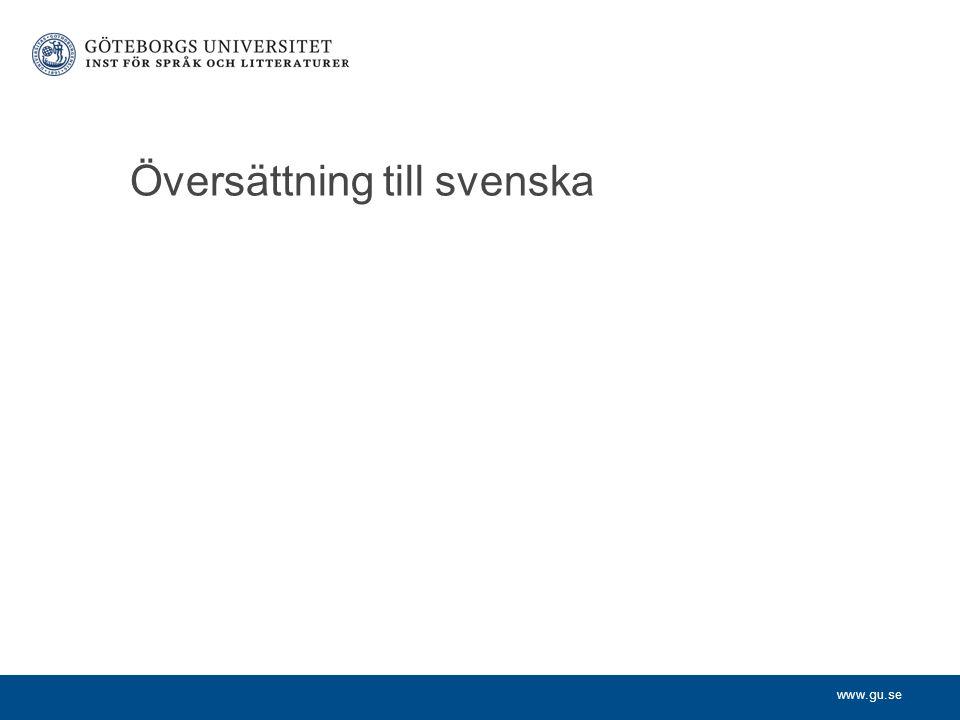 Översättning till svenska