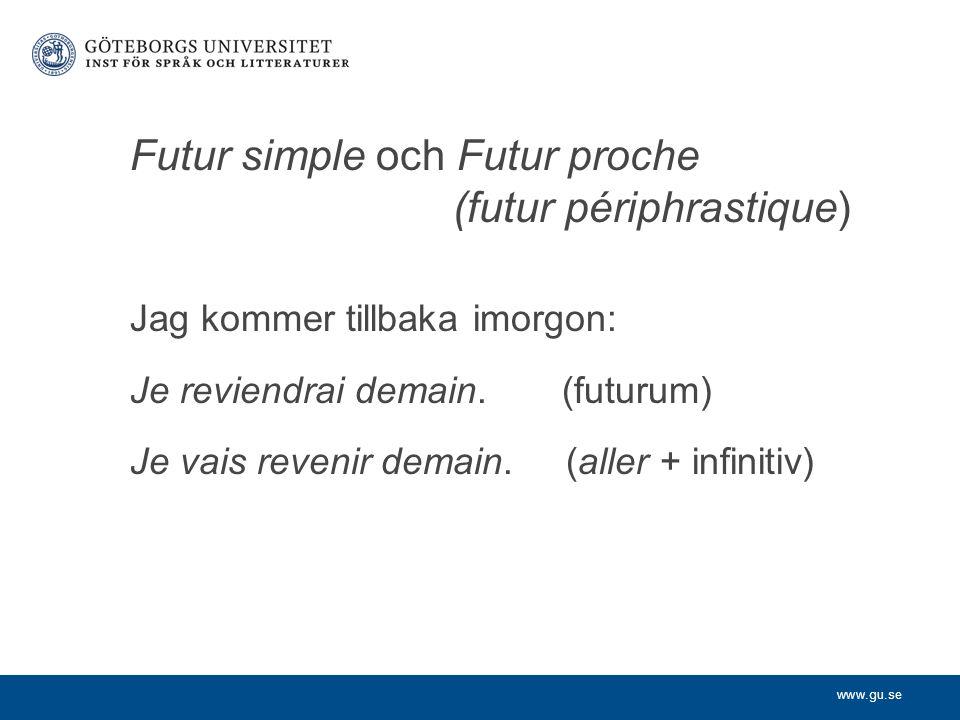 Futur simple och Futur proche (futur périphrastique)