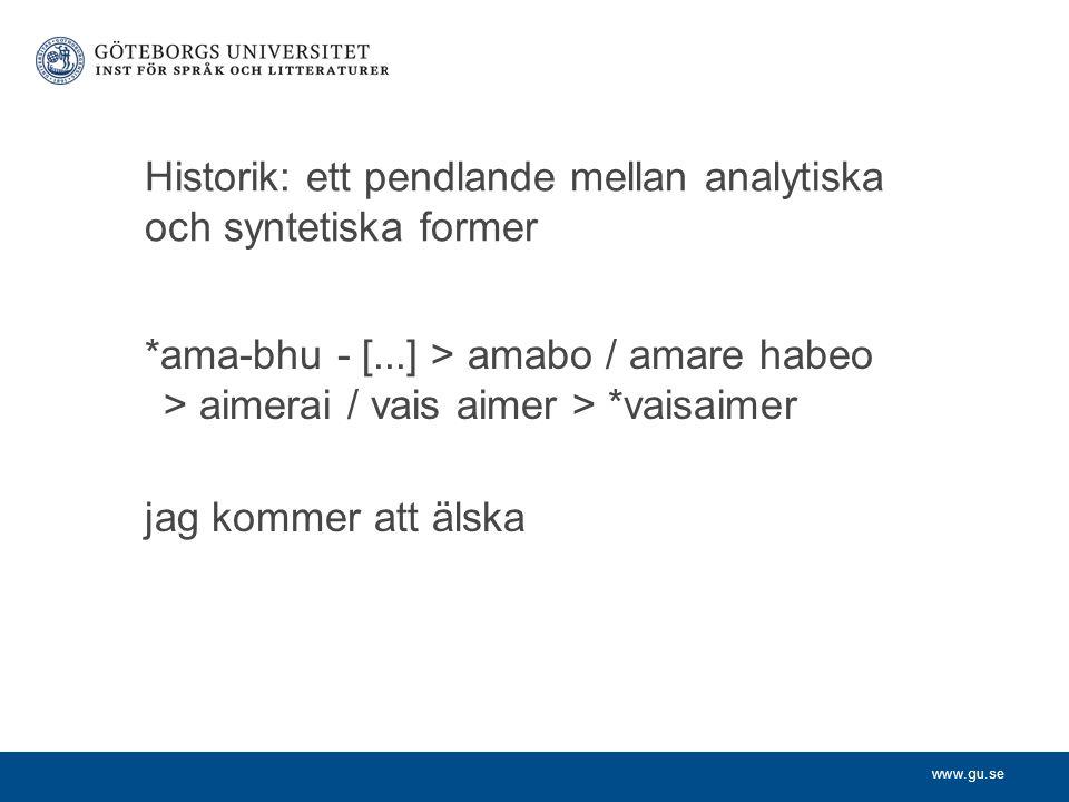 Historik: ett pendlande mellan analytiska och syntetiska former
