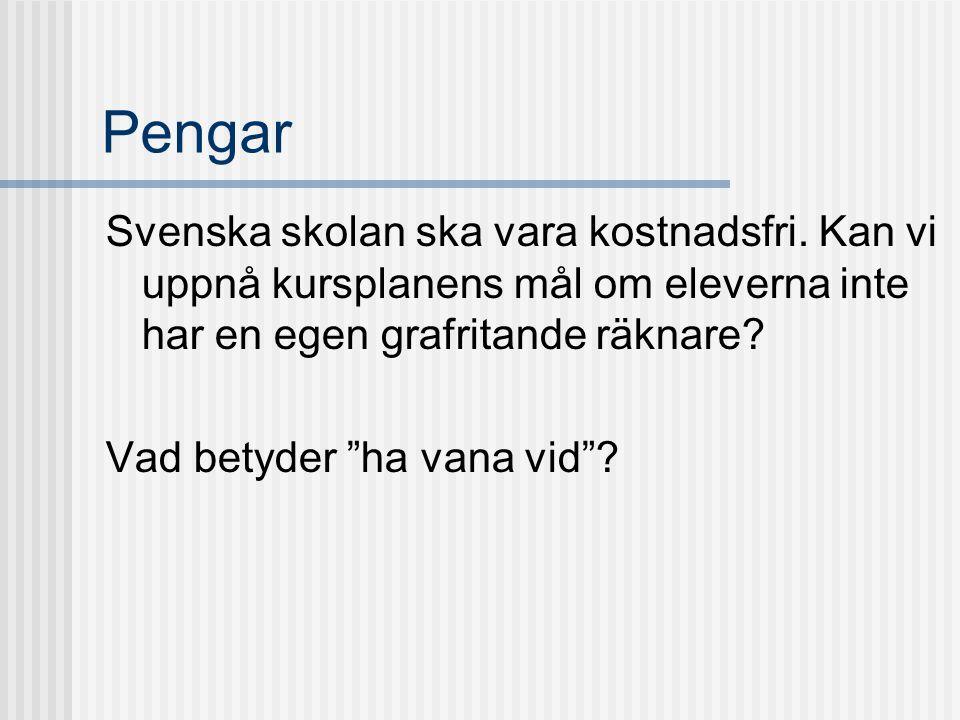 Pengar Svenska skolan ska vara kostnadsfri. Kan vi uppnå kursplanens mål om eleverna inte har en egen grafritande räknare