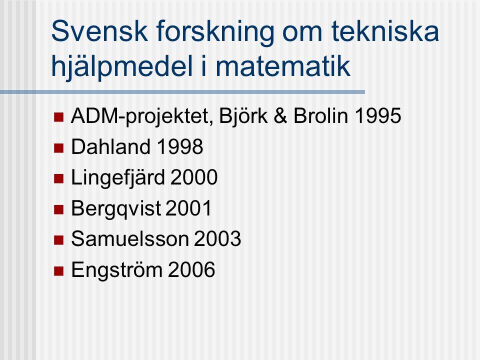 Svensk forskning om tekniska hjälpmedel i matematik