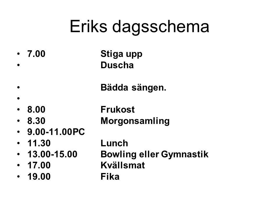 Eriks dagsschema 7.00 Stiga upp Duscha Bädda sängen. 8.00 Frukost