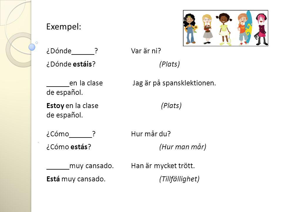 Exempel: ¿Dónde______ Var är ni ¿Dónde estáis (Plats)