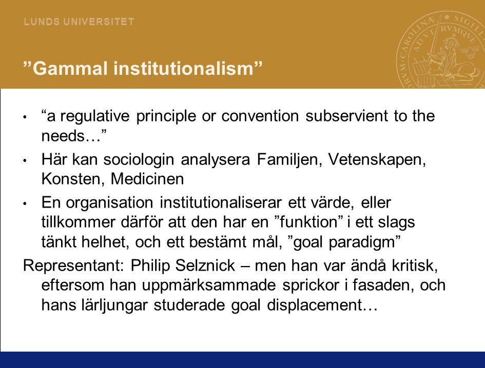 Gammal institutionalism
