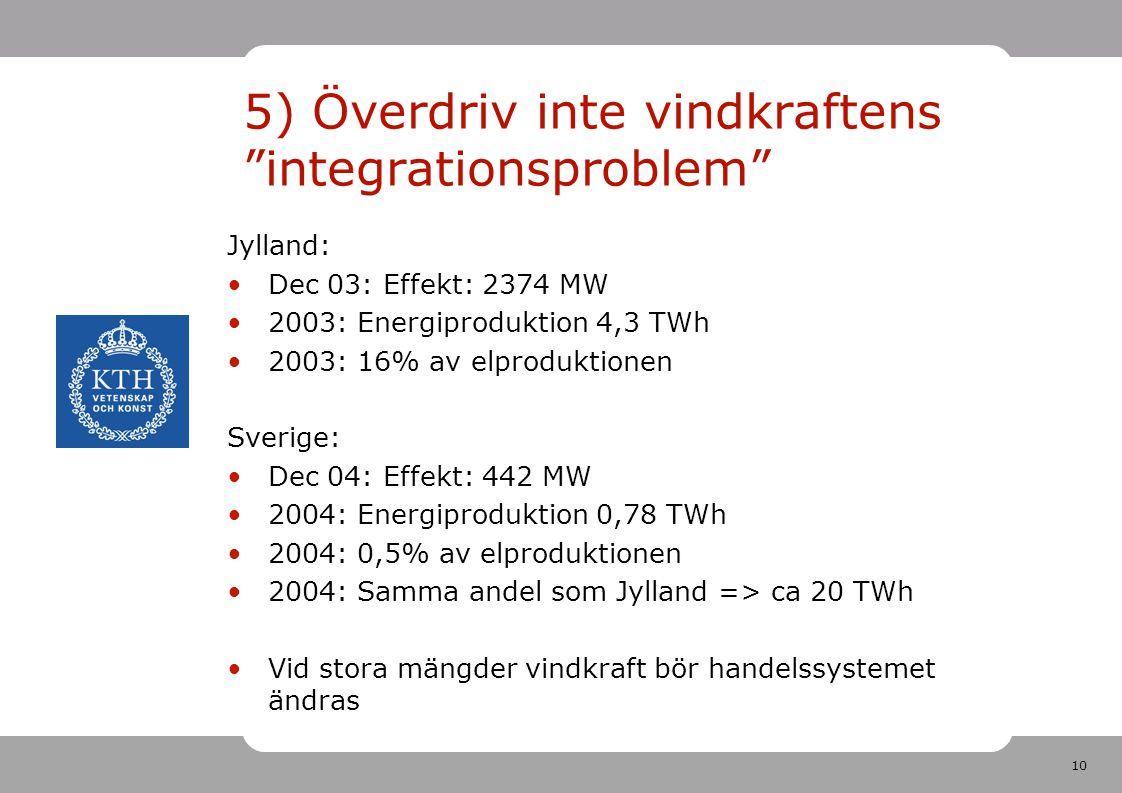 5) Överdriv inte vindkraftens integrationsproblem