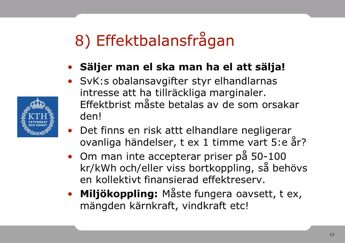 8) Effektbalansfrågan Säljer man el ska man ha el att sälja!