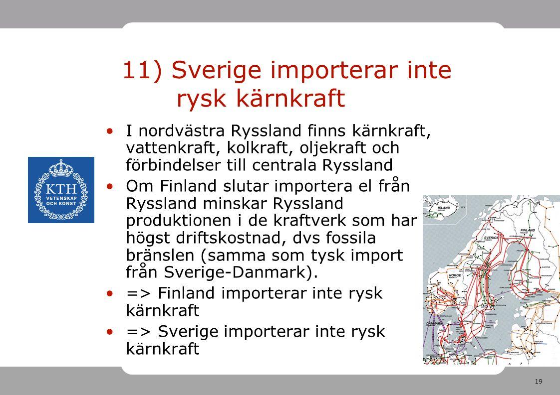 11) Sverige importerar inte rysk kärnkraft