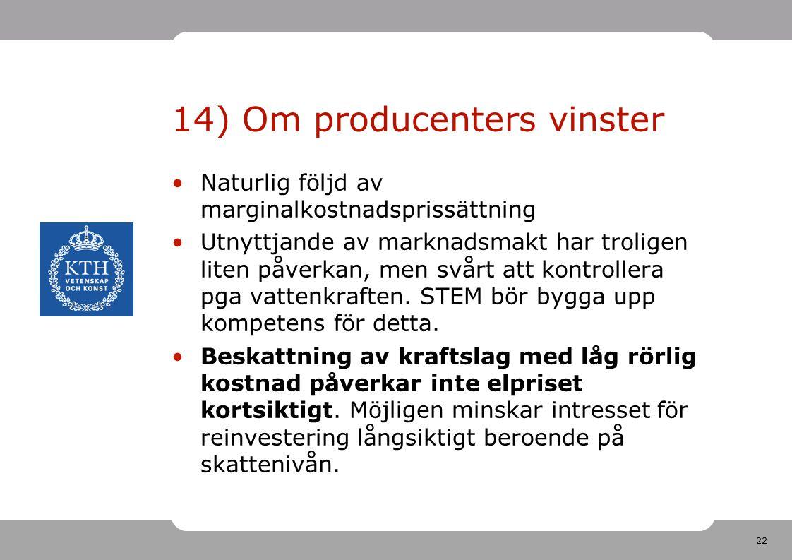14) Om producenters vinster