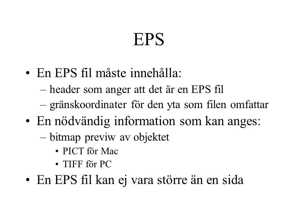 EPS En EPS fil måste innehålla: