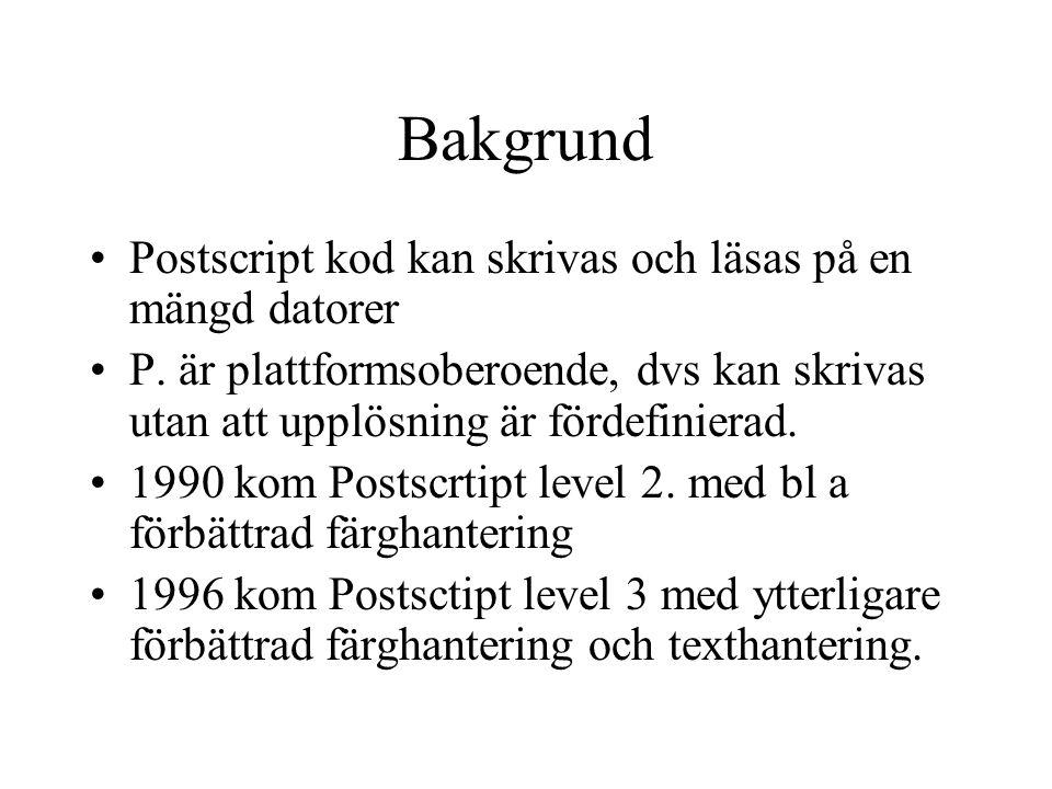 Bakgrund Postscript kod kan skrivas och läsas på en mängd datorer