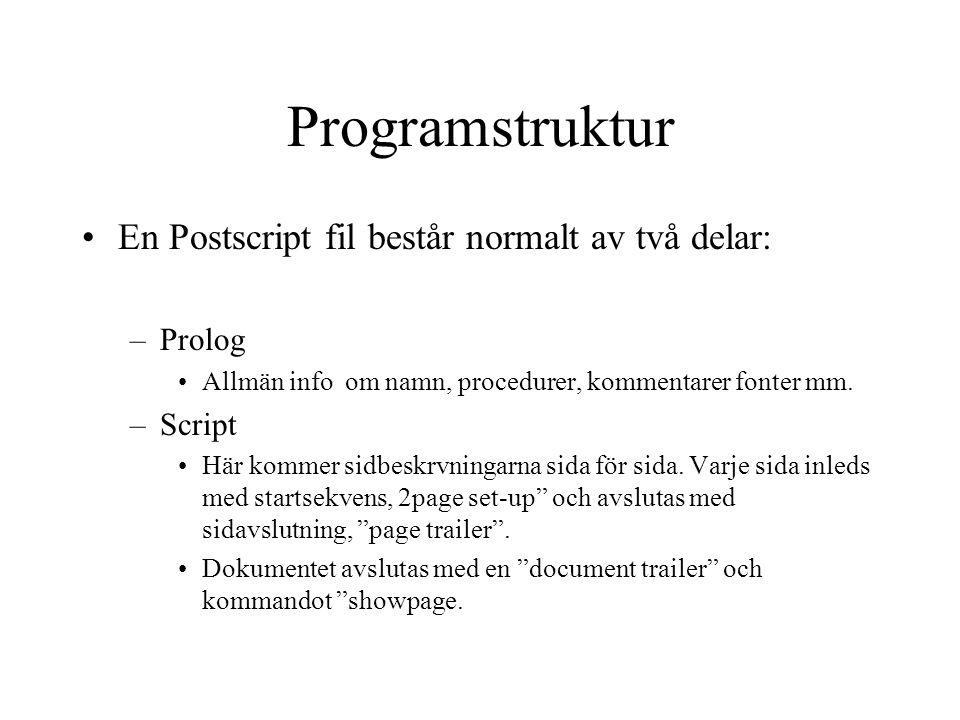 Programstruktur En Postscript fil består normalt av två delar: Prolog