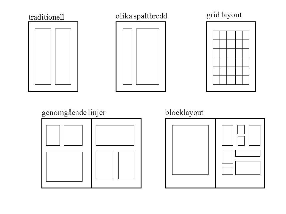 olika spaltbredd grid layout traditionell genomgående linjer blocklayout