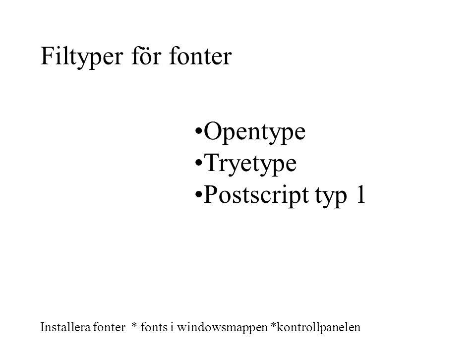 Filtyper för fonter Opentype Tryetype Postscript typ 1