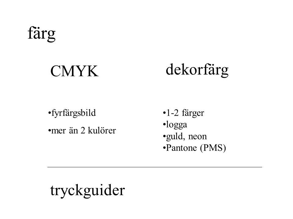 färg dekorfärg CMYK tryckguider fyrfärgsbild mer än 2 kulörer