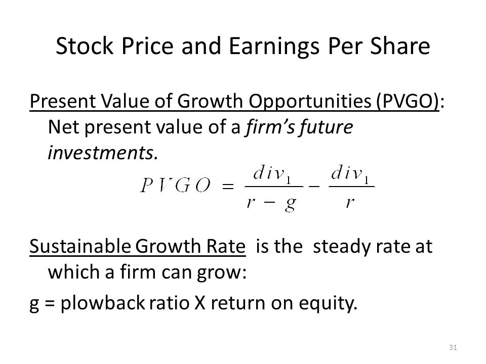 Stock Price and Earnings Per Share