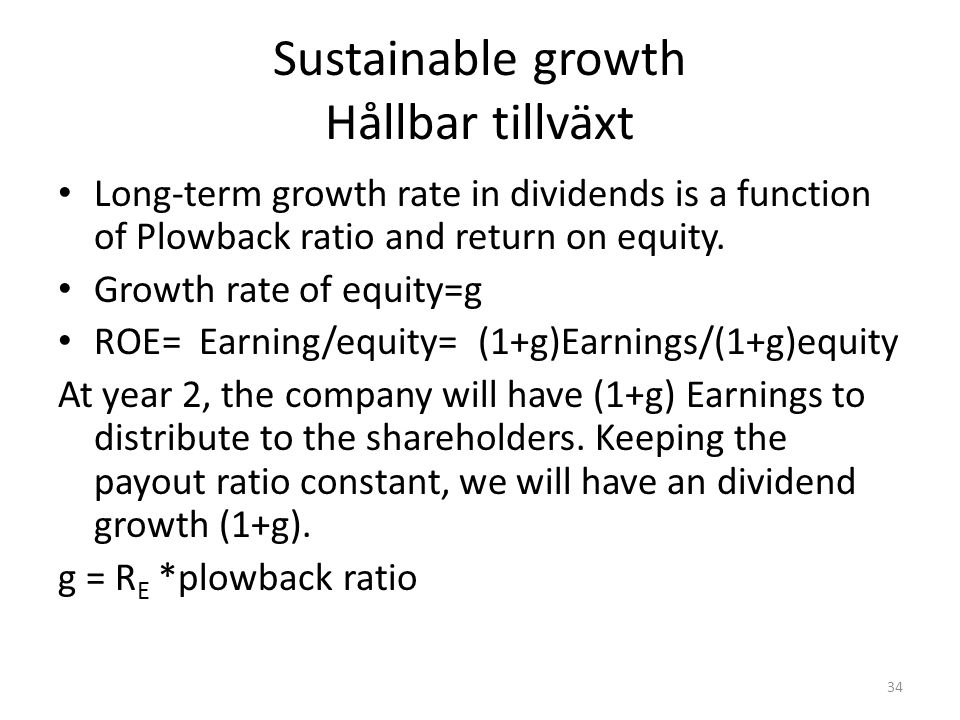 Sustainable growth Hållbar tillväxt