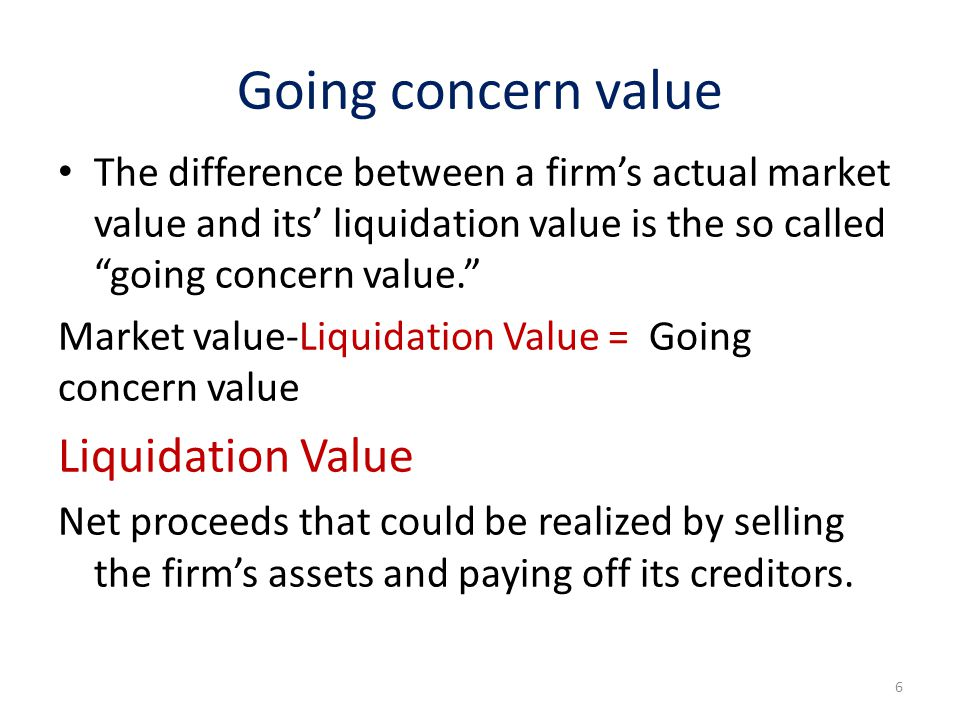 Going concern value Liquidation Value