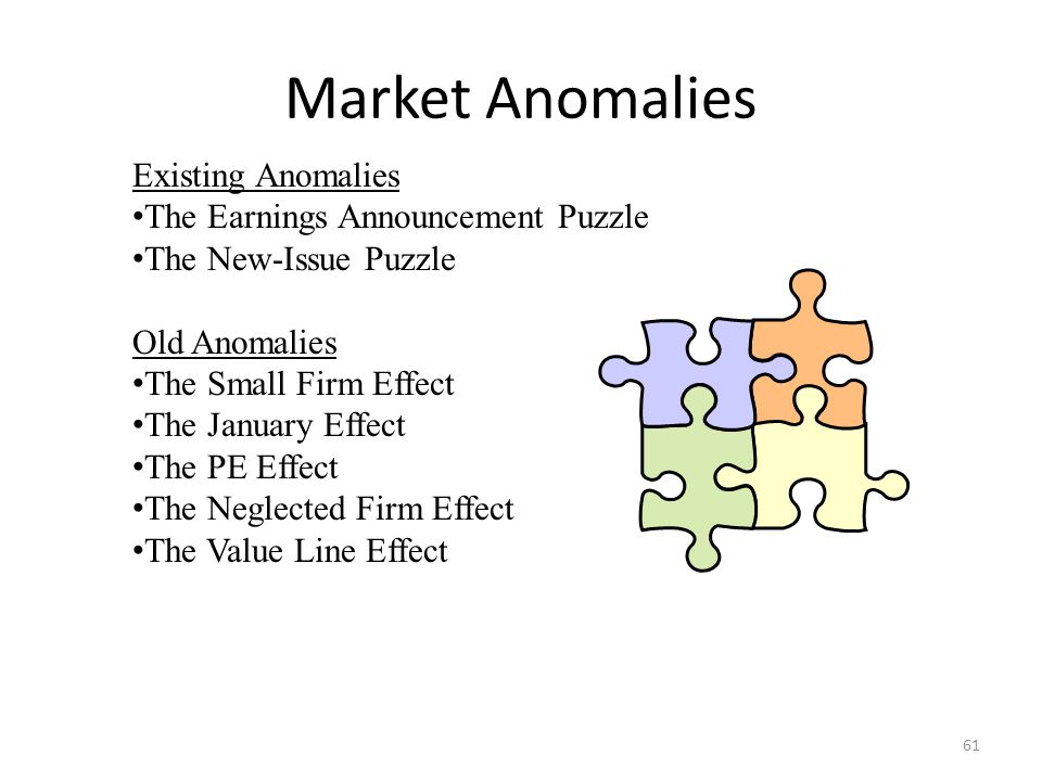 Market Anomalies Existing Anomalies The Earnings Announcement Puzzle