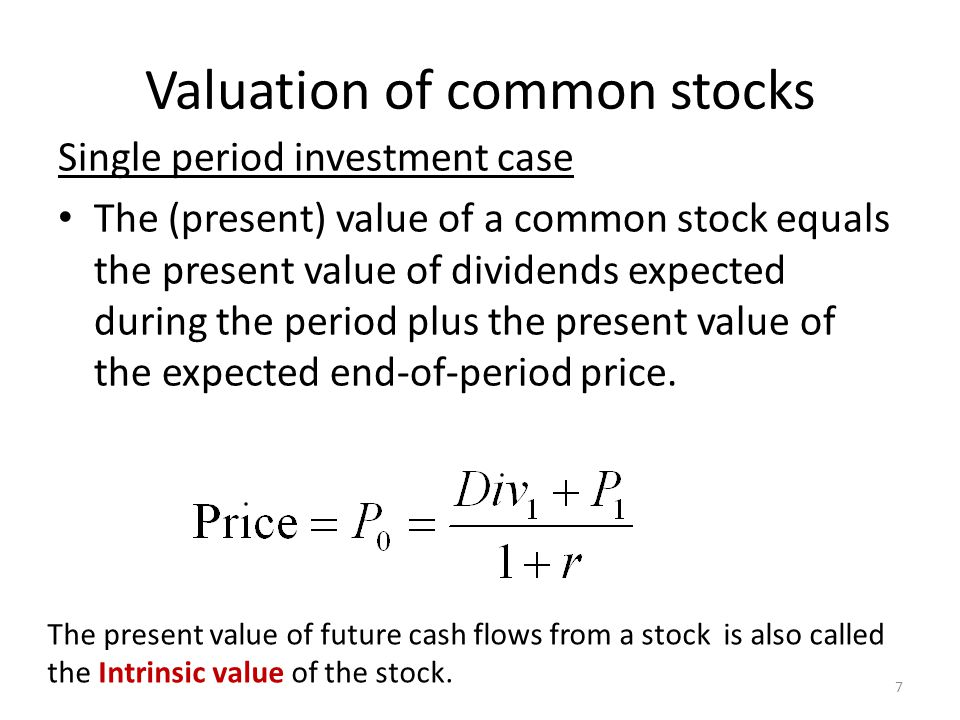 Valuation of common stocks