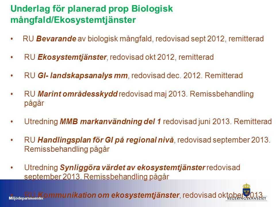 Underlag för planerad prop Biologisk mångfald/Ekosystemtjänster