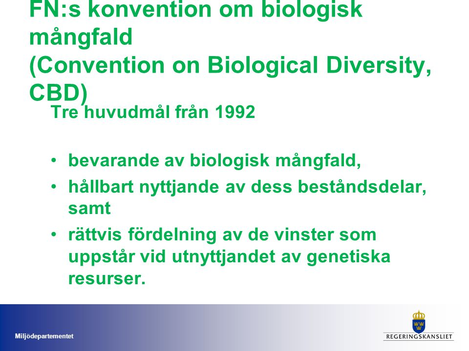 FN:s konvention om biologisk mångfald (Convention on Biological Diversity, CBD)