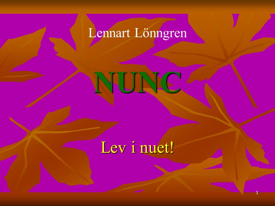 Lennart Lönngren NUNC Lev i nuet!