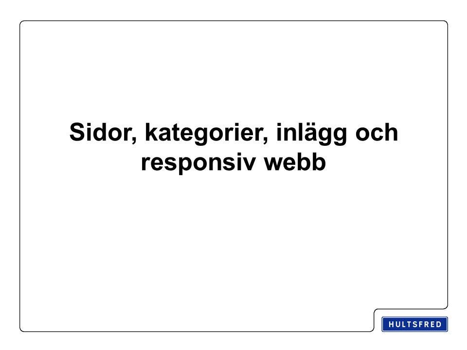Sidor, kategorier, inlägg och responsiv webb