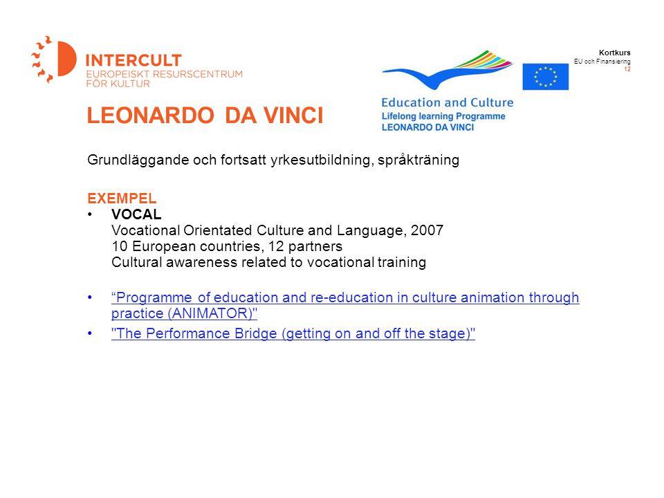 12-09-14 12-09-14. LEONARDO DA VINCI. Grundläggande och fortsatt yrkesutbildning, språkträning. EXEMPEL.