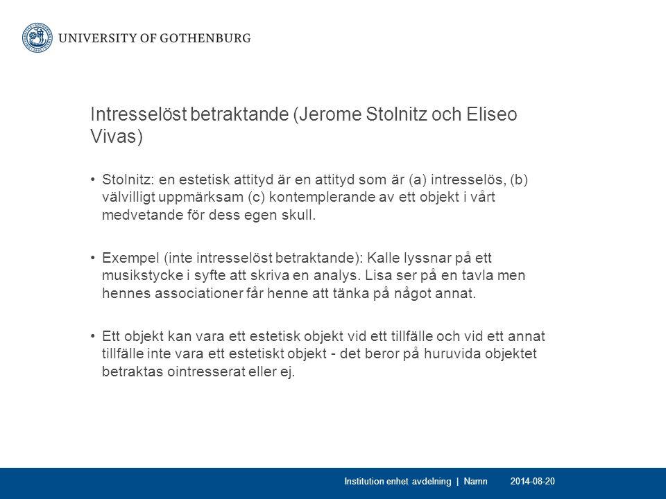 Intresselöst betraktande (Jerome Stolnitz och Eliseo Vivas)