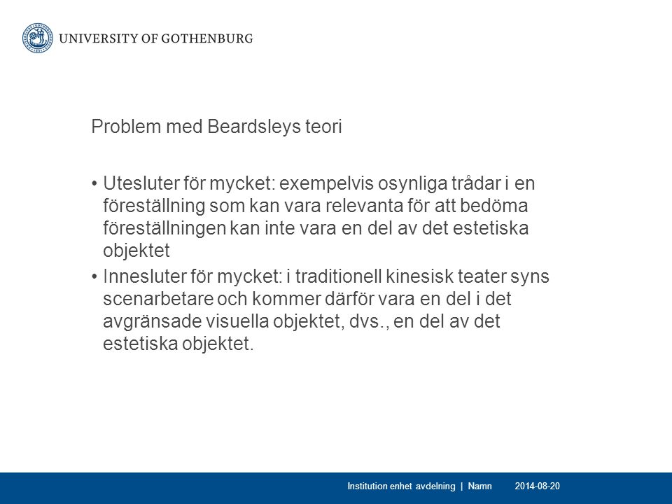 Problem med Beardsleys teori