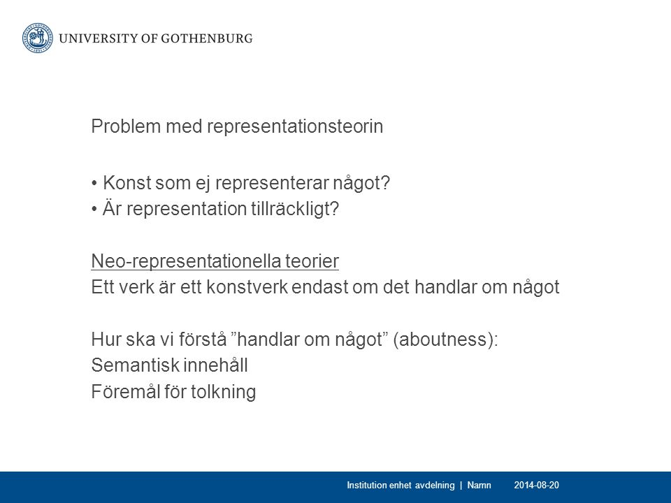 Problem med representationsteorin