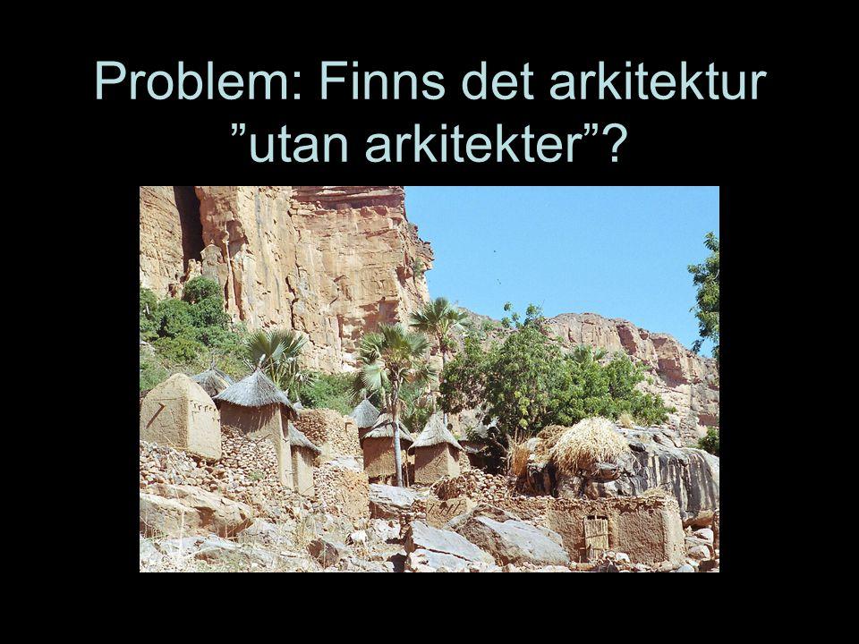 Problem: Finns det arkitektur utan arkitekter