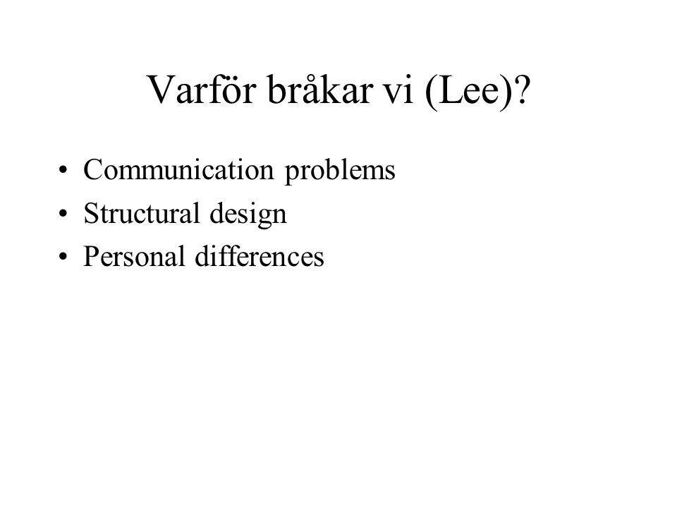 Varför bråkar vi (Lee) Communication problems Structural design