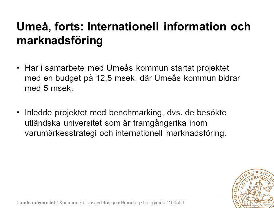 Umeå, forts: Internationell information och marknadsföring