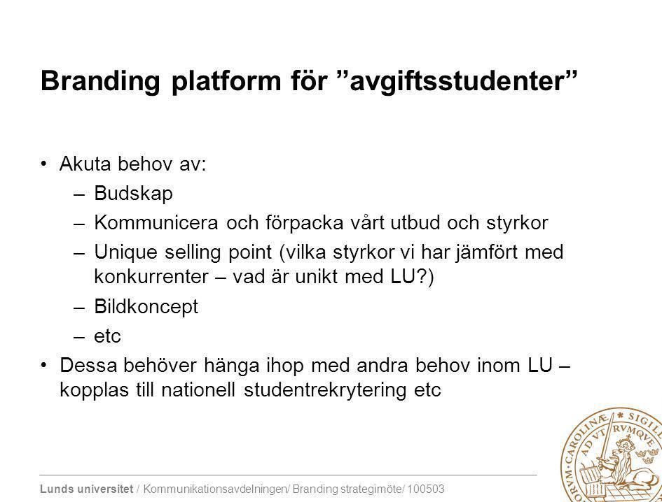 Branding platform för avgiftsstudenter