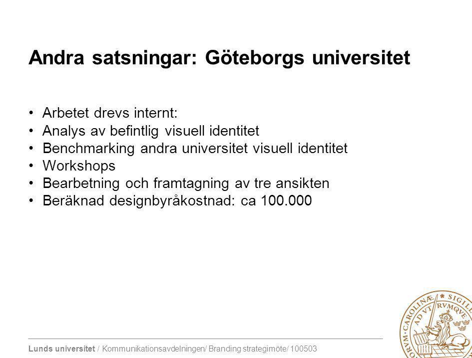 Andra satsningar: Göteborgs universitet