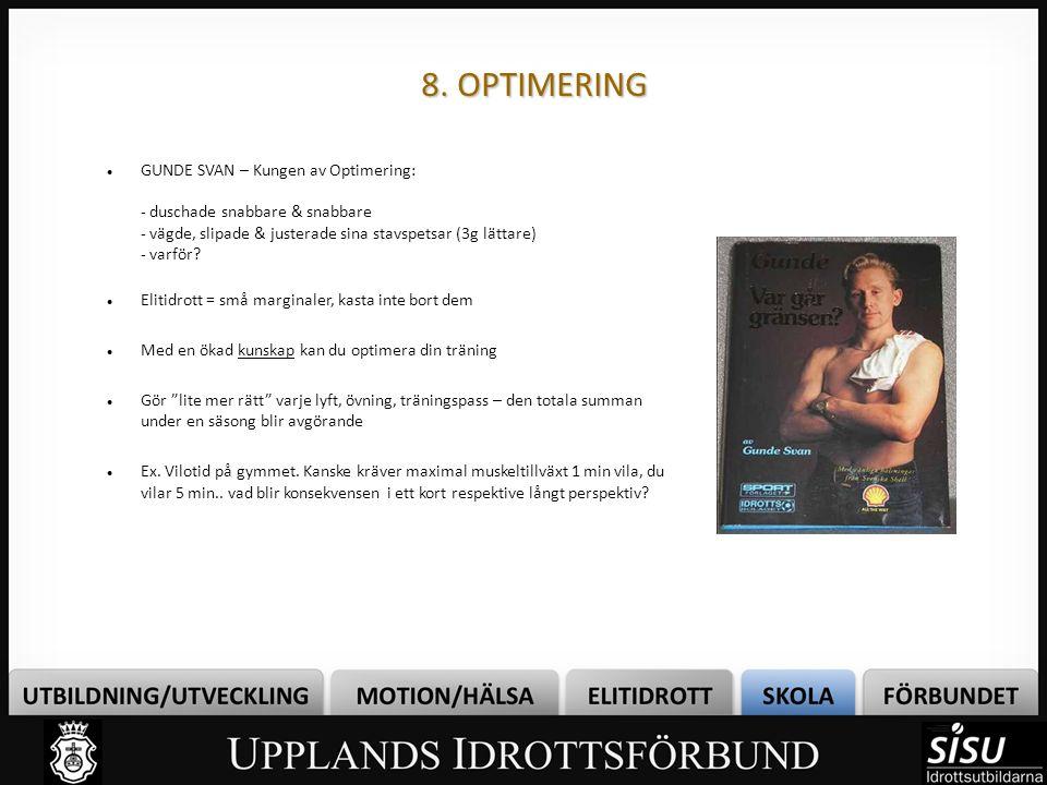 8. OPTIMERING GUNDE SVAN – Kungen av Optimering: - duschade snabbare & snabbare - vägde, slipade & justerade sina stavspetsar (3g lättare) - varför