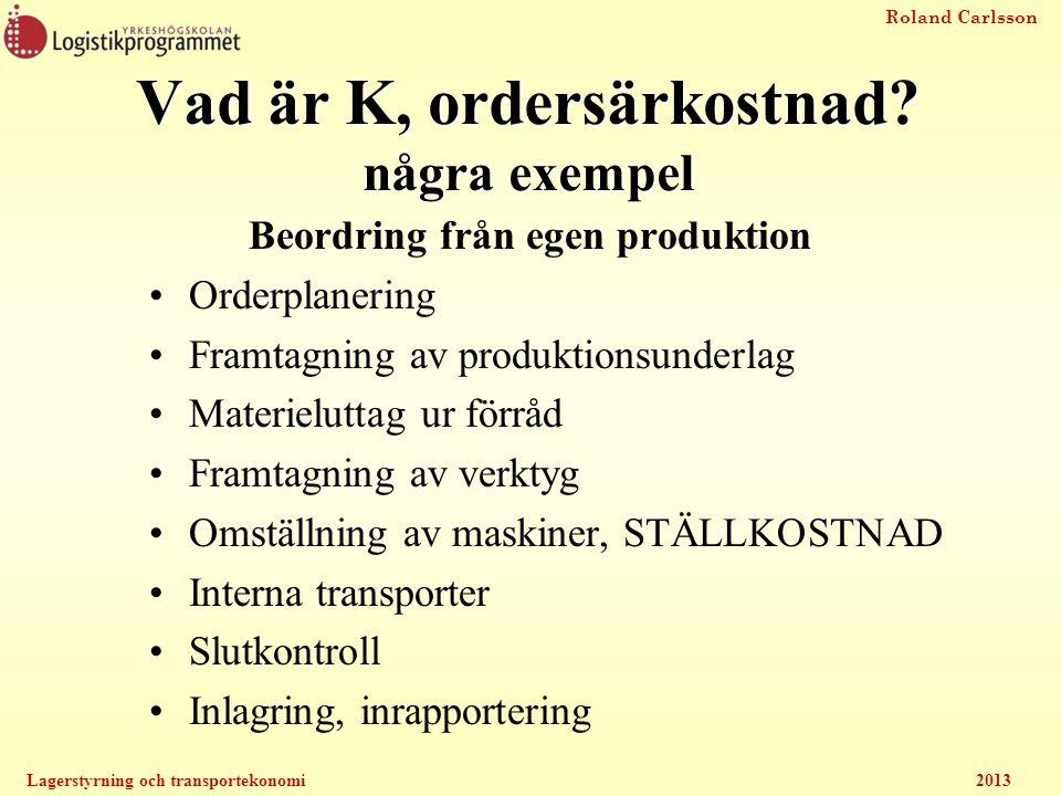 Vad är K, ordersärkostnad några exempel