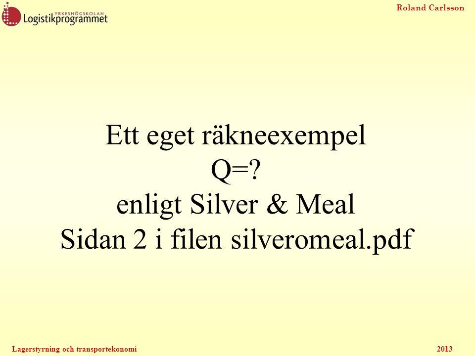 Ett eget räkneexempel Q=