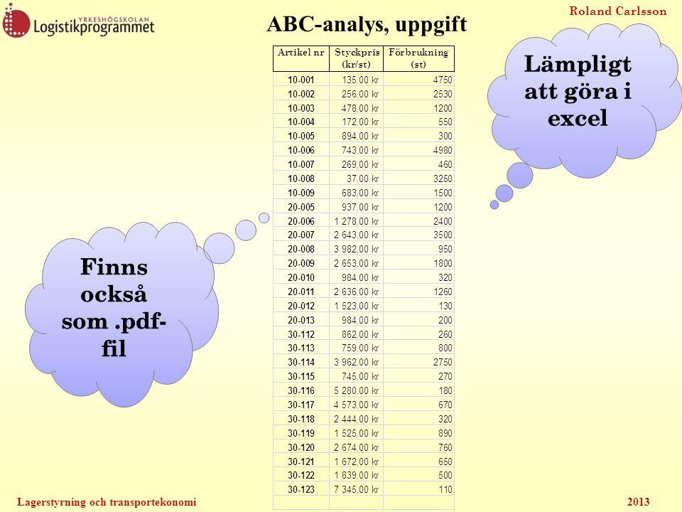 Lämpligt att göra i excel Finns också som .pdf-fil
