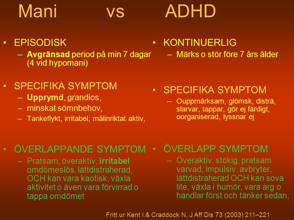 Mani vs ADHD EPISODISK SPECIFIKA SYMPTOM ÖVERLAPPANDE SYMPTOM