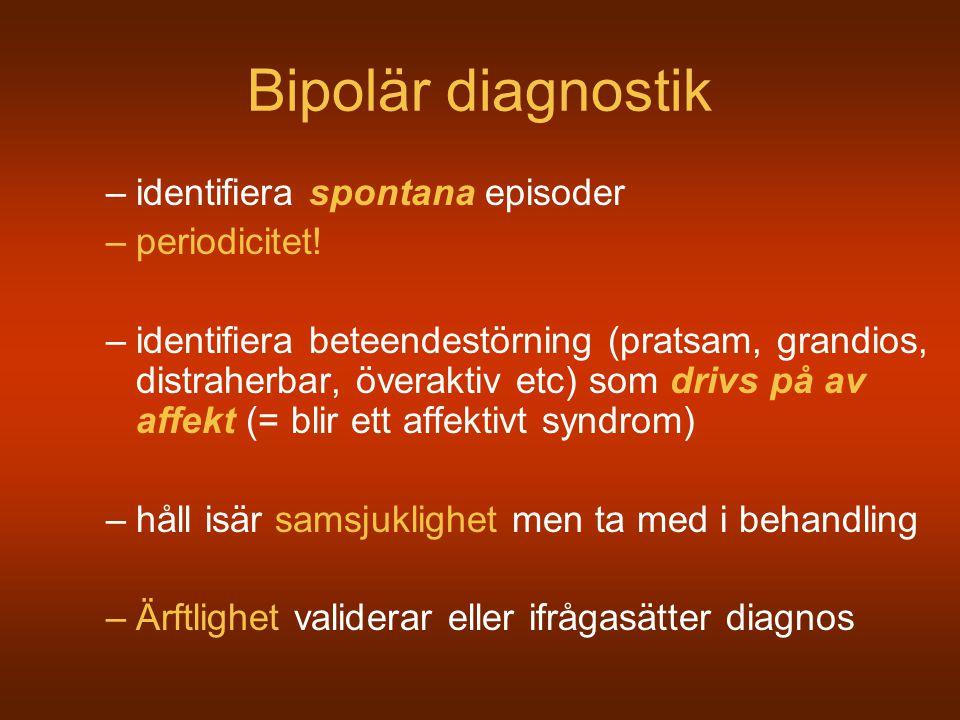 Bipolär diagnostik identifiera spontana episoder periodicitet!