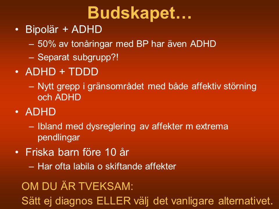 Budskapet… Bipolär + ADHD ADHD + TDDD ADHD Friska barn före 10 år