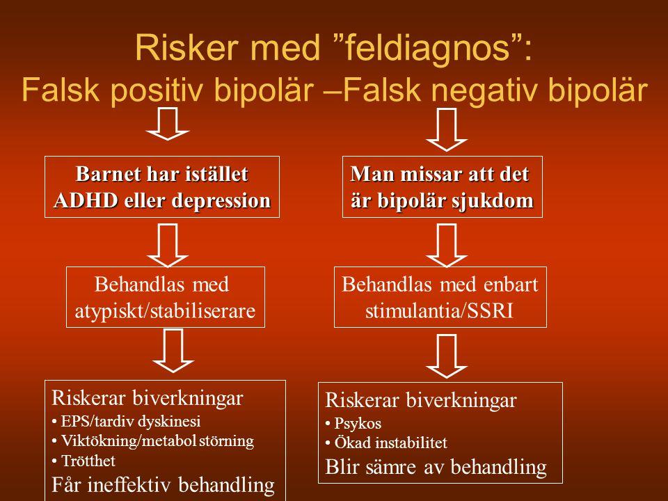 Risker med feldiagnos : Falsk positiv bipolär –Falsk negativ bipolär